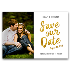 Gold Glitter SAVE OUR DATE Custom Photo 5x7 Wedding Save The Date Cards