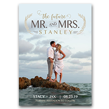 Beach Custom Photo The Future Mr and Mrs Vintage Wedding Save The Date Cards 5x7