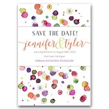 Paint Splatter Unique Paint Dots Custom Watercolor 5x7 Save The Date Cards