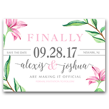 Watercolor Pink & Gray Floral FINALLY Set The Date 5x7 Save The Date Cards