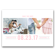 Minimal Light Pink & Silver Custom Photo 5x7 Wedding Save The Date Cards