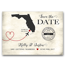 Destination Wedding Airplane Travel Custom 5x7 Wedding Save The Date Cards