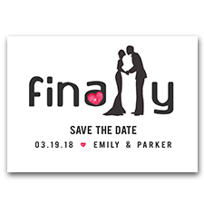 FINALLY Getting Married Couple Silhouette 5x7 Wedding Save The Date Cards
