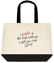 A Smile Is The Best Makeup A Girl Can Wear Red and Black Shoulder Canvas Bag Bag