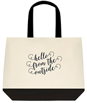 Hello From The Outside Adelle Inspired Swirly Font Black Shoulder Canvas Bag Bag