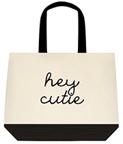 Hey Cutie Black Swirl Font Large Shoulder Canvas Tote Bag