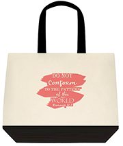 Do Not Conform To The Pattern Of This World Bible Scripture Peach Large Shoulder Canvas Tote Bag
