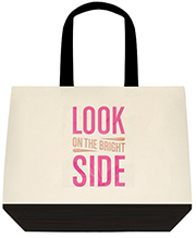 Look On The Bright Side Pink Large Shoulder Canvas Tote Bag