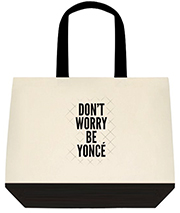 Don't Worry Be Yonce Cool Black Large Shoulder Canvas Tote Bag