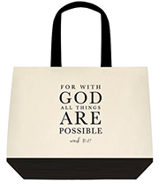 With God All Things Are Possible Large Shoulder Canvas Tote Bag
