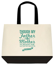 The Lord Will Receive Me Psalm 2710 Teal Large Shoulder Canvas Tote Bag