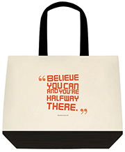 Believe You Can And You're Halfway There Large Shoulder Canvas Tote Bag