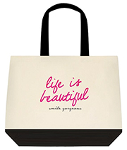 Life Is Beautiful Smile Gorgeous Pink Large Shoulder Canvas Tote Bag