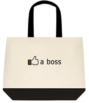 Like A Boss Facebook Thumbs Up Funny Large Shoulder Canvas Tote Bag