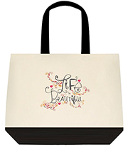 Life Is Beautiful Gorgeous Graphic Large Shoulder Canvas Tote Bag