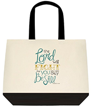 The Lord Will Fight For You For You Need Only Be Still Biblical Large Shoulder Canvas Tote Bag