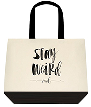Stay Weird Nerd Black Graphical Large Shoulder Canvas Tote Bag