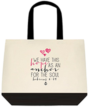 We Have This Hope As An Anchor For The Soul Hebrews 619 Biblical Large Shoulder Canvas Tote Bag