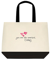 You Are The Sweetest Thing Hearts Large Shoulder Canvas Tote Bag