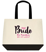 Bride New Mrs Bride To Be Custom Large Shoulder Canvas Tote Bag