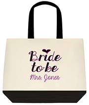Bride To Be New Custom Mrs Purple Large Shoulder Canvas Tote Bag