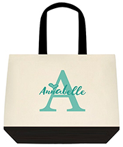 Teal Monogram and Custom Name With Heart Custom Large Shoulder Canvas Tote Bag