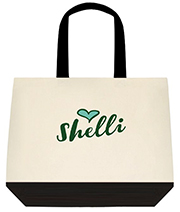 Custom Name Hunter Green and Heart Large Shoulder Canvas Tote Bag