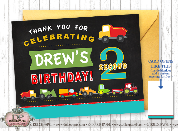 Trucks and Tractors Birthday Party Thank You Cards Specialty Folding Card 4.25x5.5